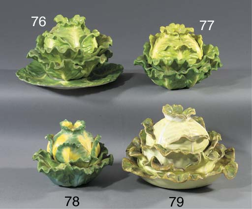 An English porcelain cabbage-t