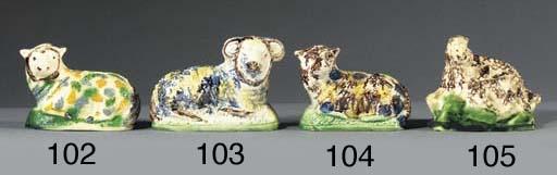 A creamware model of a sheep