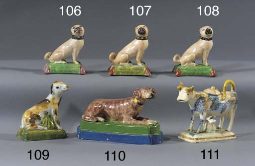 A pearlware model of a pug