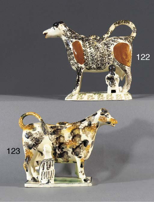 A pearlware cow-creamer and co