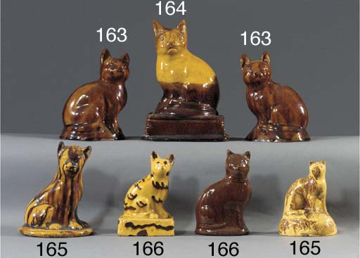 A pottery model of a cat