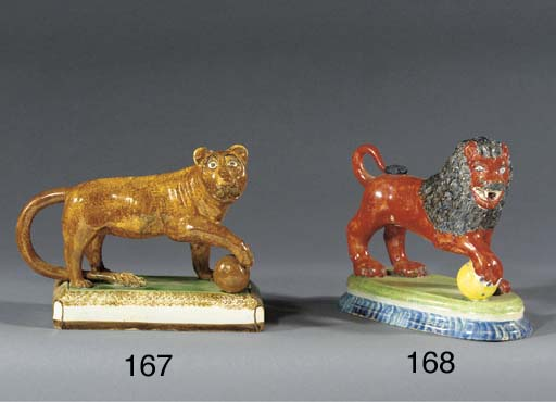 A pearlware model of a lioness
