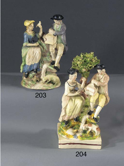 A creamware group of a shepher