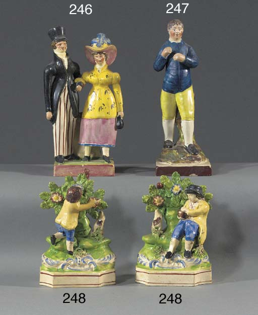 A pair of pearlware bocage fig