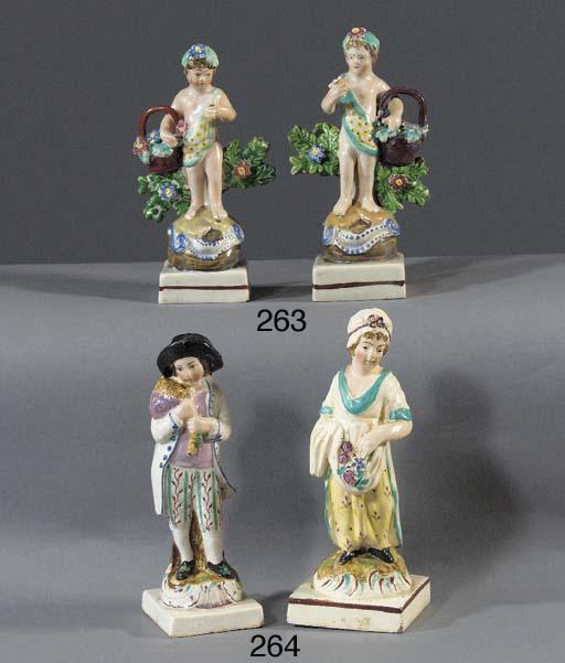 Three pearlware figures of put