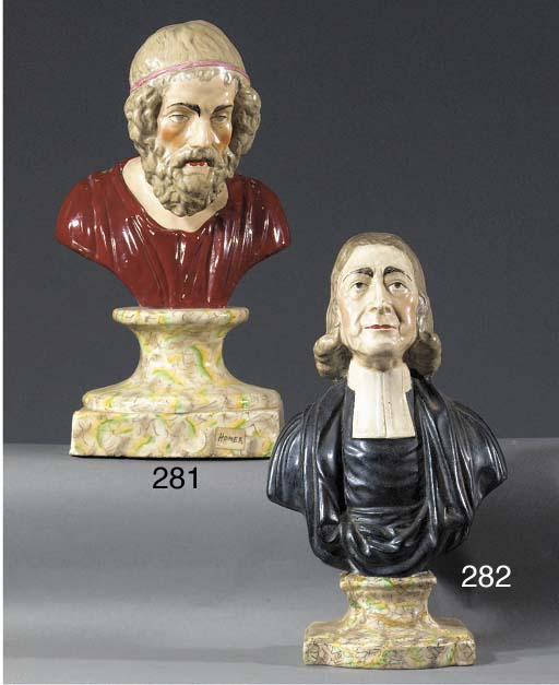 A pottery bust of Wesley