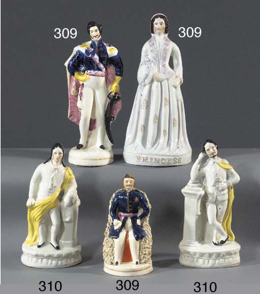 A pair of figures of Shakespea