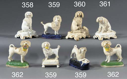 A porcelain group of a poodle