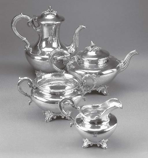 A VICTORIAN SILVER FOUR PIECE TEA AND COFFEE SERVICE