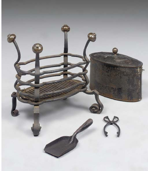 A Continental wrought iron and copper fire-grate, early 20th century
