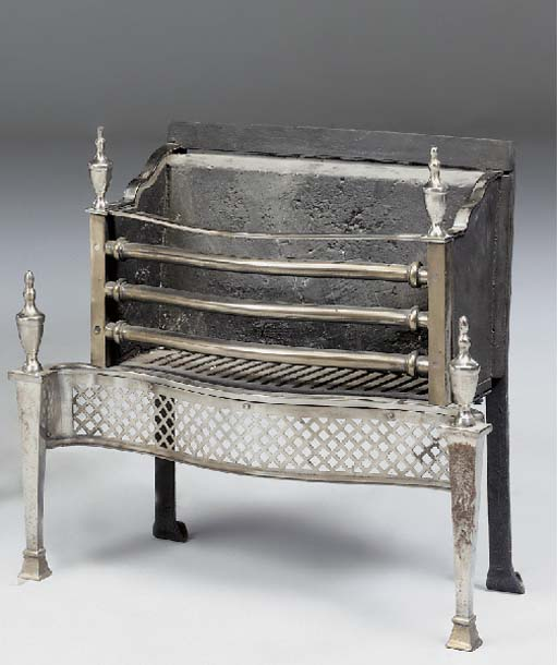 A polished steel and cast iron fire-grate, late 19th or early 20th century