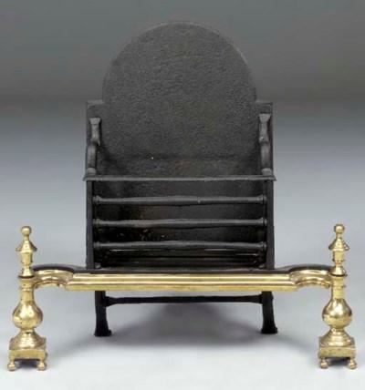A brass mounted wrought iron f