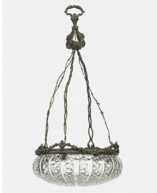 A bronze and cut glass hanging
