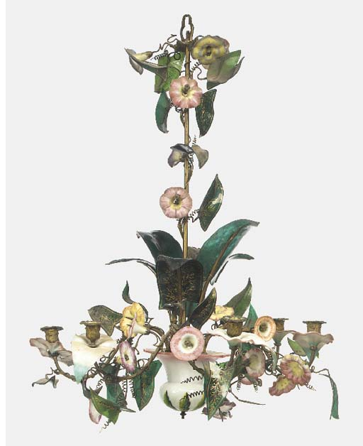 A French gilt heightened opaline and tinted glass floral and foliate six light chandelier, late 19th or early 20th century