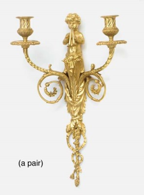 A pair of gilt bronze figural
