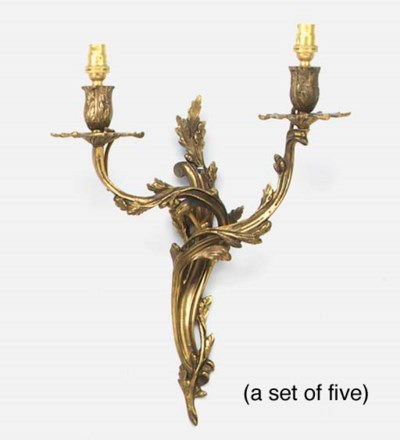 A set of five brass twin light