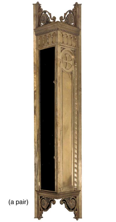 A pair of large brass wall mou