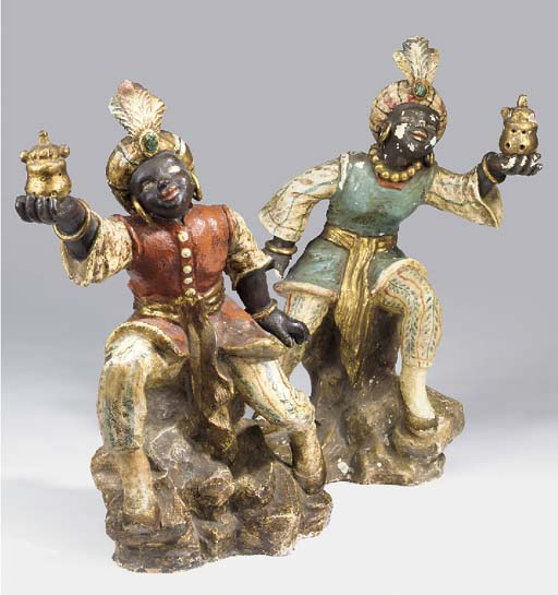 A pair of Venetian parcel-gilt and polychrome decorated terracotta blackamoors, early 20th century