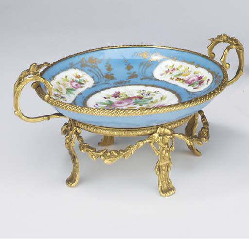 A French parcel-gilt bleu cele