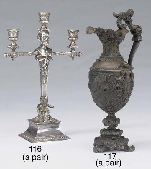 A pair of French ornamental bronze ewers, third quarter 19th century