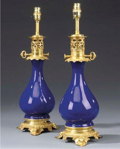 A pair of blue glazed porcelai