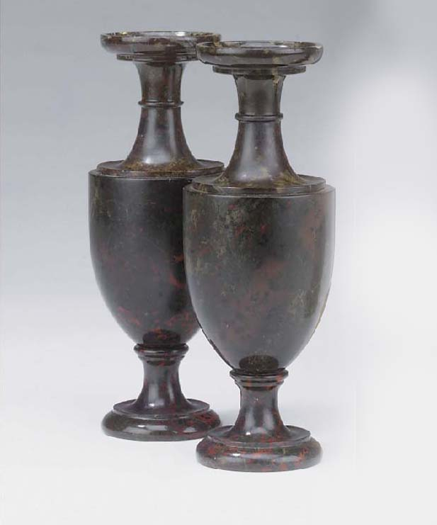 A pair of serpentine marble, l