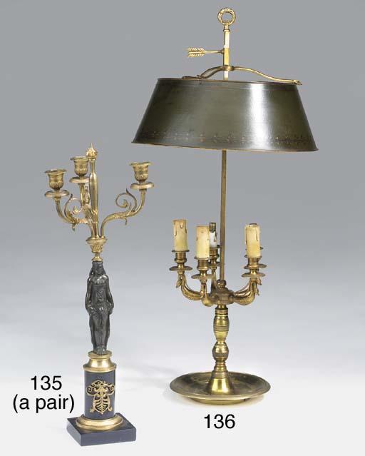 A gilt metal and tole peinte f