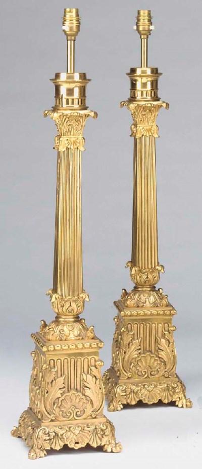 A pair of gilt metal columnar