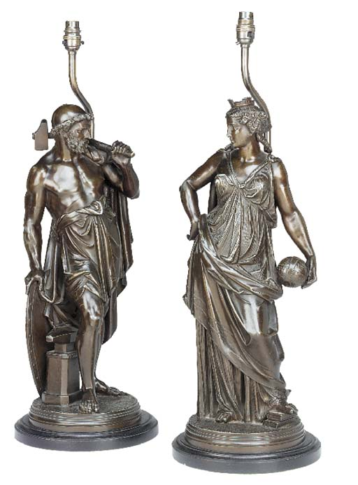 A pair of French bronze patinated cast spelter allegorical figures, late 19th century