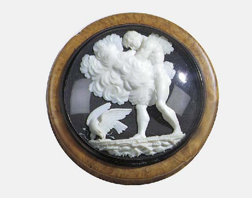 A French low relief carved ivory mounted burr maple snuff box, first quarter 19th century
