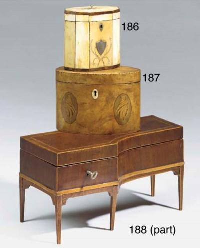 A miniature mahogany veneered