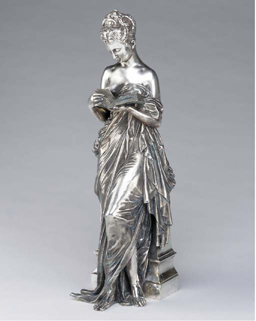 A French silvered bronze figure of a reading maiden, late 19th century