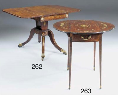 A MAHOGANY DECORATED AND LINE