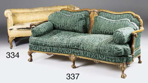A walnut and burr walnut sofa,