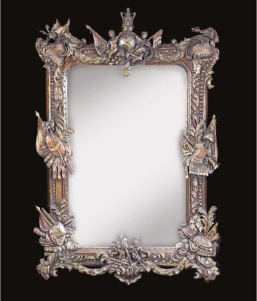 A walnut mirror, 20th century