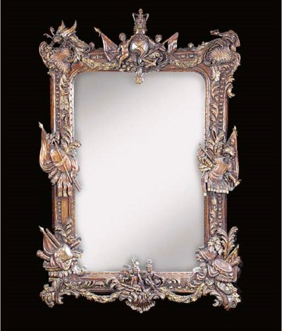 A walnut mirror, 20th century