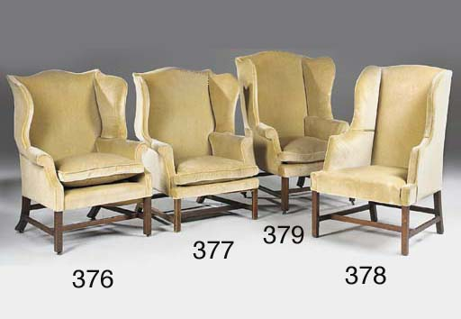 A mahogany wing armchair, earl
