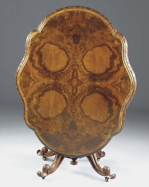 A Victorian burr walnut and wa