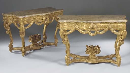 A PAIR OF GILTWOOD MARBLE TOP