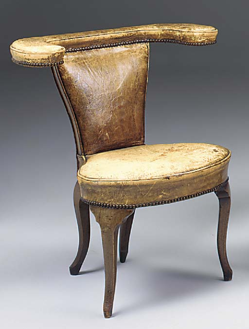 A WALNUT COCK-FIGHTING CHAIR,