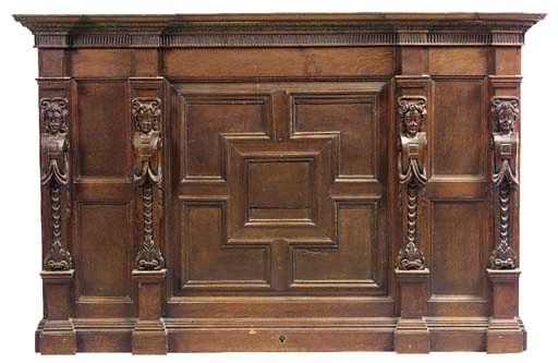 A SECTION OF OAK PANELLING, 19