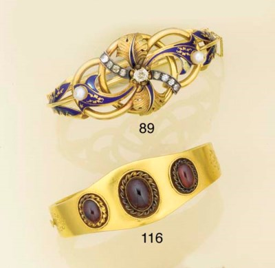 Two Victorian gold and gem ban