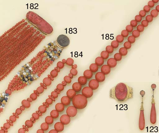 A group of antique coral jewel