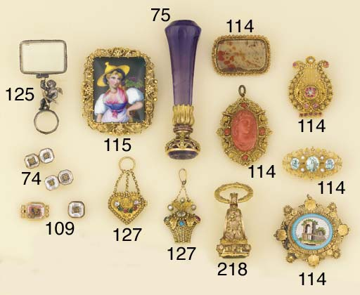 Two antique gold, gem and simu