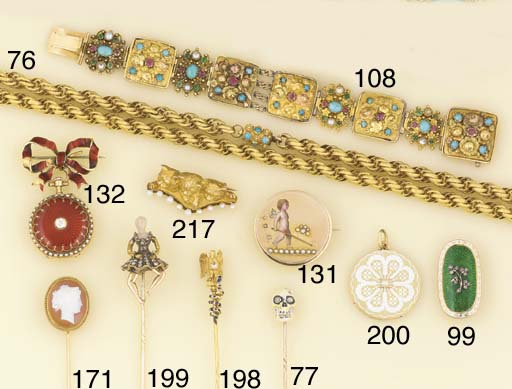 A late 19th century gold and u