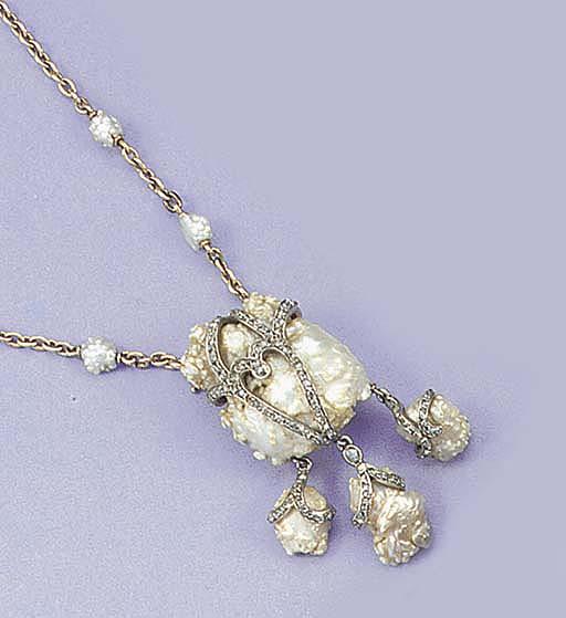 An Art Nouveau baroque pearl a