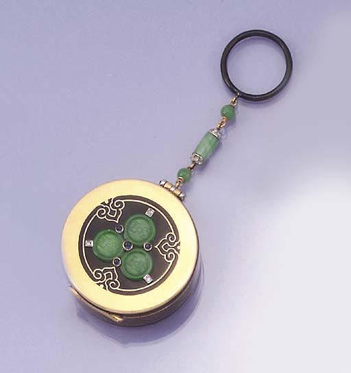 A Cartier Art Deco gold, jade,