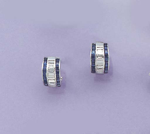 A pair of baguette diamond and