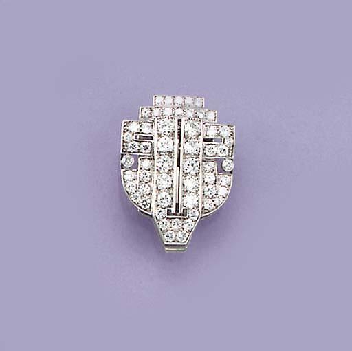 An Art Deco diamond clip,