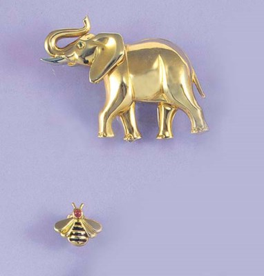 A Cartier elephant brooch and